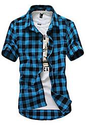 cheap -Men's Weekend Beach Cotton Slim Shirt - Plaid Classic Collar