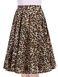 Women's Leopard Print Going out Casual/Daily Knee-length Skirts Vintage Swing Dress All Seasons Mid Rise