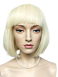 economico -Donna Parrucche sintetiche Pantaloncini Dritto Kinky liscia Blonde Taglio medio corto Parrucca naturale Parrucca per travestimenti