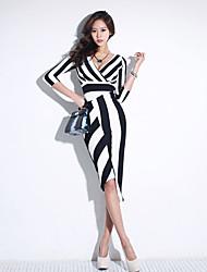 cheap -Women's Classic & Timeless A Line Dress - Stripe, Artistic Style High Waist Asymmetrical Deep V
