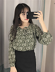 Spring new Korean real shot was thin loose College Wind long-sleeved floral chiffon lace shirt female