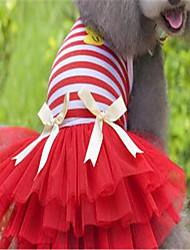 Cachorro Vestidos Roupas para Cães Fofo Riscas Amarelo Vermelho Rosa claro Ocasiões Especiais Para animais de estimação