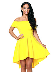 Women's Party Going out Skater Dress,Solid Boat Neck Above Knee Short Sleeve Polyester Spandex Spring Summer High Rise Stretchy Medium