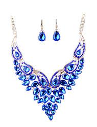 Ensemble de bijoux Strass Imitation de diamant Alliage Bijoux de déclaration Mariée Mode euroaméricains Bijoux Bleu Set de BijouxMariage