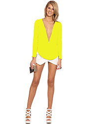 cheap -Women's Blouse - Solid Color, Modern Style Deep V