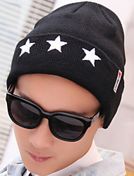 cheap -Men's Five-pointed Star Embroidery Prints Knit Stretch Crimping Wool Outdoor Protect Ear Skiing Warm Hat
