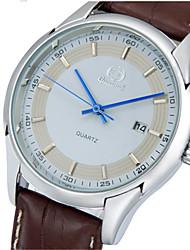 Недорогие -Муж. Модные часы Кварцевый Формальный Классический Кожа Черный Аналоговый На каждый день - Белый Черный