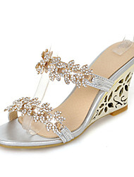 cheap -Women's Shoes Synthetic Summer / Fall Slingback Sandals Wedge Heel Round Toe Rhinestone for Dress Gold / Silver