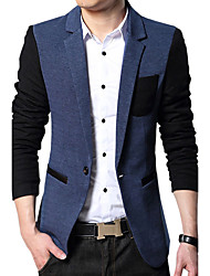 Men's Casual/Daily Work Simple Vintage Spring Fall Blazer,Color Block V Neck Long Sleeve Regular Cotton Acrylic