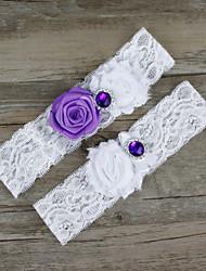 Недорогие -Шифон Кружева Сатин Мода Свадебный подвязка - Бусины Кружева Цветы Подвязки