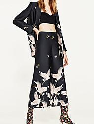 0926 европейская и американская торговля ретро большой za crane принт юбка широкий нога брюки женщины новый весна 2017