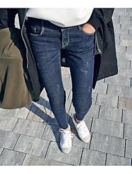 2017 Spring Slim was thin elastic waist denim pants feet pencil pants tide Korean version