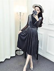 знак весной новый блестящая рубашка + ремень платье плиссированный алмаз бархат части установлены