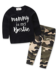 Boy Leisure suit Kids Letter Printing T-shirt Cottom Camouflage Long Pants Baby Clothing Set