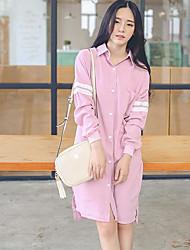 2017 printemps nouvel institut coréen du vent a frappé le revers de la couleur longue section de la robe chemise lâche