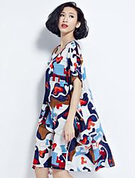 Zeichen King-Size-Frauen 200 Pfund Fett mm Sommer Kunstfan gewaschen Baumwollkleid