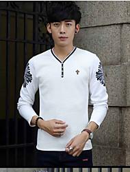 European leg of long-sleeved T-shirt men Autumn tide men Qiuyi outer wear jacket thin 2016 men's V-neck shirt
