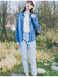 Sign Style attribute their editors recommend long-sleeved denim shirt female Korean wild