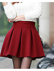 cheap -Women's Going out Mini Skirts, Casual A Line Cotton Solid Winter Fall