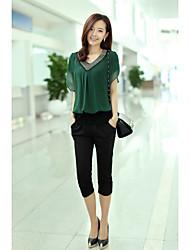 2016 estate nuove donne della camicia di chiffon a maniche corte sottili perline v-collo corto femmina della maglietta bottoming