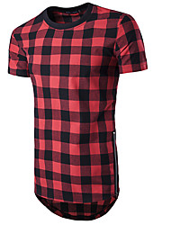 cheap -Men's Sports Casual Active Cotton T-shirt - Color Block Plaid Check Round Neck