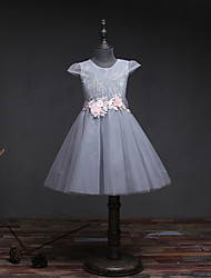 A-Line Knee Length Flower Girl Dress - Lace Tulle Sleeveless Jewel Neck with Flower