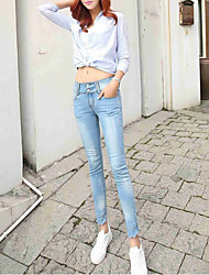 Sign new Korean high waist jeans female student was thin Slim pencil pants feet flanging nine points