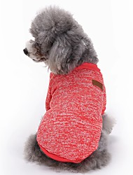 Cat Dog Coat Shirt / T-Shirt Dog Clothes Winter Spring/Fall Solid Cute Sports Fashion Pure Color Red Pink Green Blue