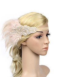 cheap -Rhinestone Feather Polyester Headbands Flowers Headwear with Floral 1pc Special Occasion Headpiece