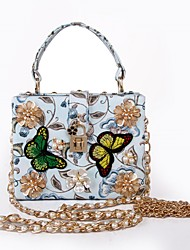 cheap -Women's Bags PU Tote Pearl Imitation Pearl Flower for Event/Party Casual Formal All Seasons LightBlue