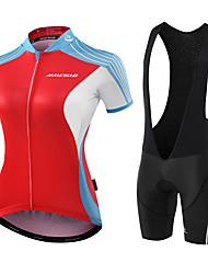 Cycling Jersey with Bib Shorts Women's Short Sleeves Bike Jersey Compression Clothing Padded Shorts/Chamois Bib Tights Anatomic Design