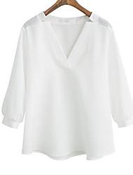 2017 весной и летом моды торговли большого размера v-образный вырез рубашка темперамент