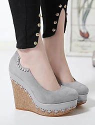 cheap -Women's Shoes Suede Comfort Heels Wedge Heel For Casual Black Gray