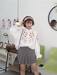 Embroidered clothing College wind thick white village