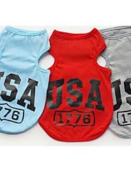 preiswerte -Hund T-shirt Weste Hundekleidung Lässig/Alltäglich Buchstabe & Nummer Grau Rot Blau Kostüm Für Haustiere