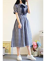Women's Graduation Sweet 16 School Classic & Timeless A Line Dress,Art Deco Round Neck Mid-Calf Short Sleeves N/A Summer High Waist