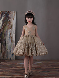 Ball Gown Knee Length Flower Girl Dress - Lace Tulle Satin Chiffon Sleeveless V-neck with Bow(s)