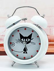 Modern Design Cute & Mysterious Cat Alarm Clock Metal Twin Ring Clock Unique Gift Quartz Beside Table Clock Unique Gift