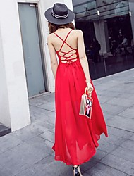 cheap -Women's Causal Chic & Modern Swing Dress,Solid Color Strap Maxi Sleeveless Polyester Summer High Rise Inelastic Thin
