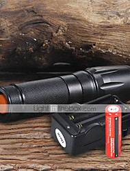 cheap -UltraFire W-878 LED Flashlights / Torch LED 1800 lm 5 Mode with Batteries and Charger Adjustable Focus Camping / Hiking / Caving / Everyday Use / Working Black