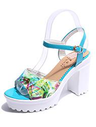 baratos -Mulheres Sapatos Couro Ecológico Primavera Conforto Sandálias Sem Salto para Casual Amarelo Azul Azul marinho