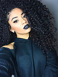 cheap -10-26 Inch Human Virgin Hair Natural Black Color Lace Front Wig Small Curly Hairstyle with Baby Hair