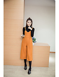 Sign 2017 spring new woolen overalls wide leg pants large size pantyhose female Korean 007055