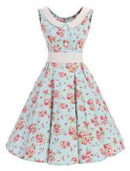 abordables -Mujer Diario Vintage Corte Swing Hasta la Rodilla Vestido Floral Escote Redondo Sin Mangas