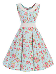 preiswerte -Damen Retro Swing Kleid Blumen Knielang