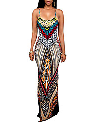 cheap -Women's Sophisticated Sheath Dress Print Maxi Strap