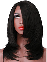 abordables -Perruque Lace Front Synthétique Droit / Yaki Coupe Carré Cheveux Synthétiques Raie Centrale Noir Perruque Femme Court L Part Noir Naturel