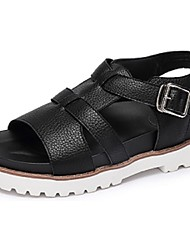 Camel Women's Summer Low Heel  Light Soles PU Casual  Sandals Color White/Black