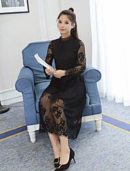 longa seção de oco rendas vestido de mangas compridas coreano feminino assentamento saia longa 2.016 novos inverno
