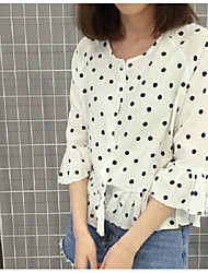 1688 # Korean version of the new spring wild small dot printing loose chiffon shirt sleeve shirt Wawa Shan cover
